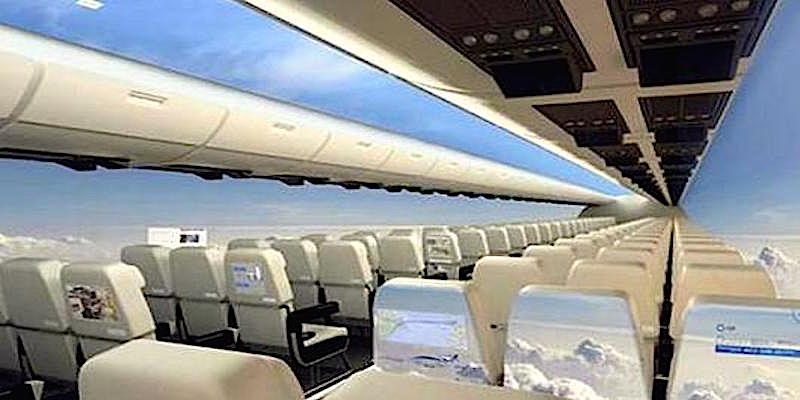 Windowless plane lets you fly with your head in the clouds